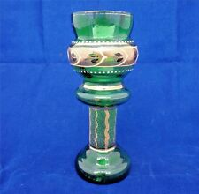 Antique Green Bohemian Art Glass Posy Vase Gilded Enamel Jardiniere stand c 1900