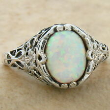 VINTAGE VICTORIAN STYLE 925 STERLING WHITE LAB OPAL SILVER RING SIZE 7.75,  #798