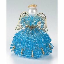 """Safety Pin and Bead Birthstone Angel Kit - DECEMBER  - ZIRCON Blue - 4"""" Tall"""