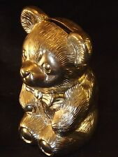 Silver Plated Teddy Bear Figurine Money Box Piggy Bank Collectible Collectable