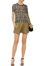 ISABEL MARANT SAND ABON TEXTURED LEATHER SHORTS FR 38 UK 8