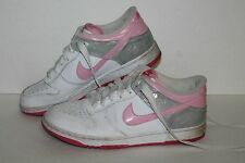 Nike Dunk Low Casual Sneakers, #344942-161, Wht/Pink/Slvr, Youth US 6Y