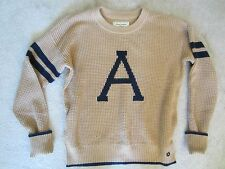 """WOMENS ABERCROMBIE & FITCH A&F BEIGE """"A"""" PRINT LONG SLEEVE COMFY SWEATER MEDIUM"""