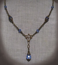 BRASS FILIGREE LT. SAPPHIRE BLUE CRYSTAL TEAR DROP NECKLACE VICTORIAN EDWARDIAN