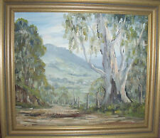 """""""KANGAROO VALLEY NSW"""" OIL RONALD PETERS SIGNED AND TITLED GOLD CUSTOM FRAME"""