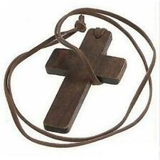 Vintage Jewelry Christian Religious Wooden Brown Cross Pendant  Wood Necklace