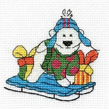 Sledging Polar Bear Cross Stitch Kit - Christmas Characters - DMC