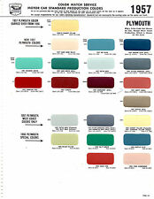 1956 1957 PLYMOUTH SAVOY FURY PLAZA BELVEDERE PAINT CHIPS 57 SHERWIN WILLIAMS 2