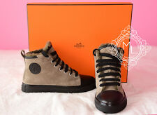 NEW HERMES 30%OFF JIMMY BRONZE WOOL FUR SNEAKER WOMENS 37 FLAT LOAFER SHOES BOOT