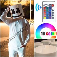 New Marshmello DJ Costume Head Halloween LED Mellogang Marshmallow Mask EDM Rave