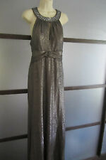 Ignite Evenings Dress Sz 16 Silver Ruched Open Back Neck Closure Jeweled Tall