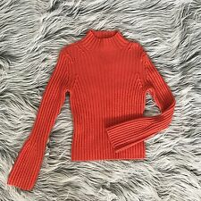 Tahari Wool Orange Ribbed Bell Sleeve Mock Neck Sweater Turtleneck Medium