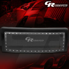 BLACK ABS FRONT BUMPER/HOOD RIVERTED MESH GRILL COVER FOR 09-14 FORD F150 TRUCK