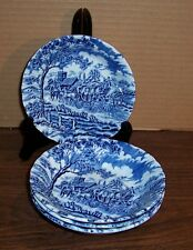 "LOT OF 4 MYOTT ROYAL MAIL BLUE FRUIT DISHES 5.25"" MADE IN ENGLAND"