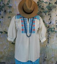 Red & Turquoise Hand Embroidered Blouse Ejutla Oaxaca Mexico Hippie Peasant Boho