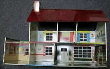 VINTAGE 1950's MARX TIN LITHO TWO STORY DOLL HOUSE W/6 ROOMS NEAT!