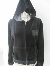 JAC WOMENSWEAR - BLACK VELVETIN  ZIP UP HOODI SIZE 18 COTTON BLEND