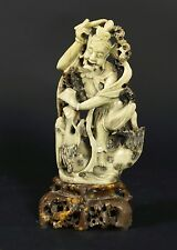 "Large Vintage Chinese Hand Carved Statue Green Soapstone Man Dragon 13.5"" Stone"