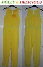 **DOLLY & DELICIOUS** BRIGHT YELLOW OPEN BACK BLOGGERS PARTY JUMPSUIT UK 12 BNWT
