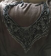 Vintage Large Beaded Mesh,Sequins Black and Silver Beads Shawl Scarf Wrap