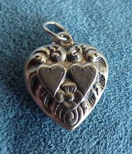 Vintage World War II Era Ornate Double Sided Sterling Silver Puffy Heart Charm