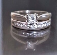 14K White Gold (5.54 Grams) Princess & Round Cut Diamond Wedding Ring Set