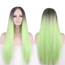 Fashion Women Long Straight Ombre Color Black/Light Green Natural Hair Full Wig