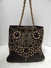 New Miu Miu Limited Edition Brown Leather Jeweled Studded Chain Bag Italy nwot