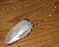 Vintage Unusual Mother of Pearl Shell Coin Purse/Chain Strap Inset with Beads