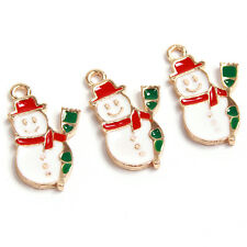 10x New Green&Red&White Enamel Gold Plated Snowman Alloy Pendant Fit XMAS DIY D