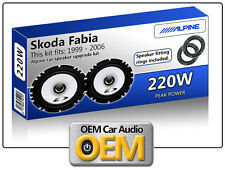 "Skoda Fabia Front Door speakers Alpine 6.5"" 17cm car speaker kit 220W Max Power"
