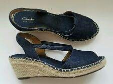 Blue Wedge Sandals Slingback Open Toe Clarks Artisan Denim Women's 8 EUC