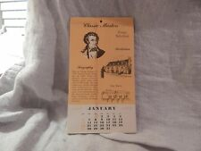 Vintage Classic Masters 1957 Calendar Advertising Classical Music Presser