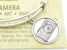 Wind and Fire Camera Silver Charm Wire Bangle Stackable Bangle Bracelet USA Gift