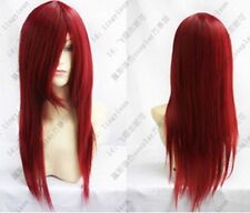 hot! Heat Resistant dark red long straight Cosplay party Wig SH01