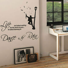 DANCE IN THE RAIN Musica Muro Arte Preventivo Adesivi Decalcomanie Parete parole Lettering 14
