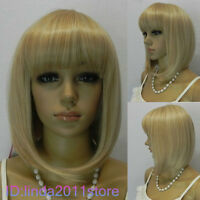 New Short Warm Blonde curly Straight Lady's Cosplay Full Hair Wig/Wigs NO:A15