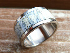 Stainless Steel Ring with Deer Antler, Deer Antler Ring, Mens Ring, Gift
