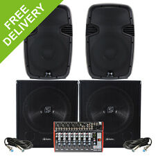 "2400W Live Band Speaker PA System Active 12"" Tops 15"" Subwoofers Music Mixer FX"
