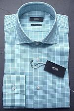 NWT HUGO BOSS MEN'S REGULAR FIT SPREAD COLLAR GREEN PLAIDS DRESS SHIRT 38 15