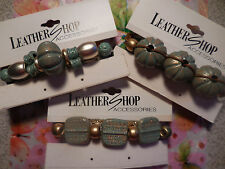 """3 Diff 3"""" GOLD SPARKLE TURQUOISE COLOR Hair Clips Barrettes New in Butterfly Bag"""