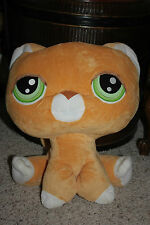 RARE HTF LPS Littlest Pet Shop Big Jumbo Head Orange Kitty Cat Plush 12x14 #A3