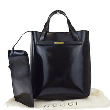 Authentic GUCCI Logos Hand Tote Bag Leather Black Made In Italy 00A580