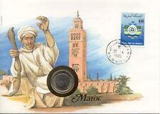 superbe enveloppe MAROC MOROCCO pièce monnaie 1 DIRHAM 1974 UNC NEW timbre