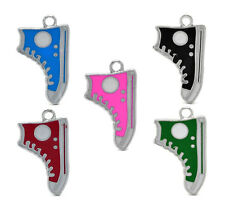 10 Shoe Charms, Hi-Top  Canvas, sneakers Enamel Pendants, diy jewelry Making
