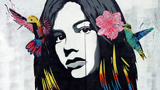 A1 CANVAS PRINT - GIRL FACE BIRDS FLOWER  GRAFFITI STREET poster  ART  unframed