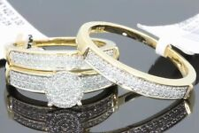 YELLOW GOLD .43 CT HIS HER DIAMOND WEDDING RING ENGAGEMENT BAND BRIDAL TRIO SET