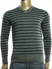 NEW MENS TOMMY HILFIGER FLAG LOGO V NECK PIMA COTTON STRIPE PULLOVER SWEATER