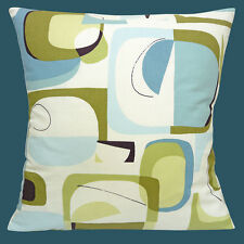 "Vintage Retro Geometric 50's Duck Egg Off White Cotton 16"" Pillow Cushion Cover"