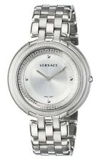 Versace Women's VA7060013 Thea Round Stainless Steel Silver Sunray Dial Watch